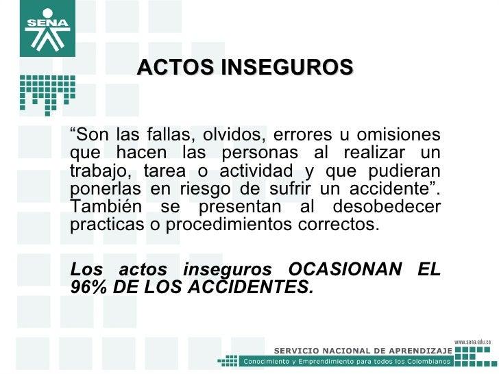 Actos y condiciones inseguras for Practica de oficina definicion