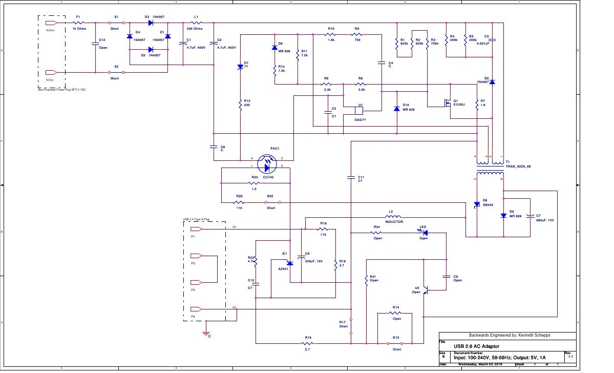 Ac To Usb Adaptor Schematic