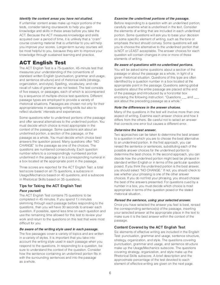 act 64e practice answer key