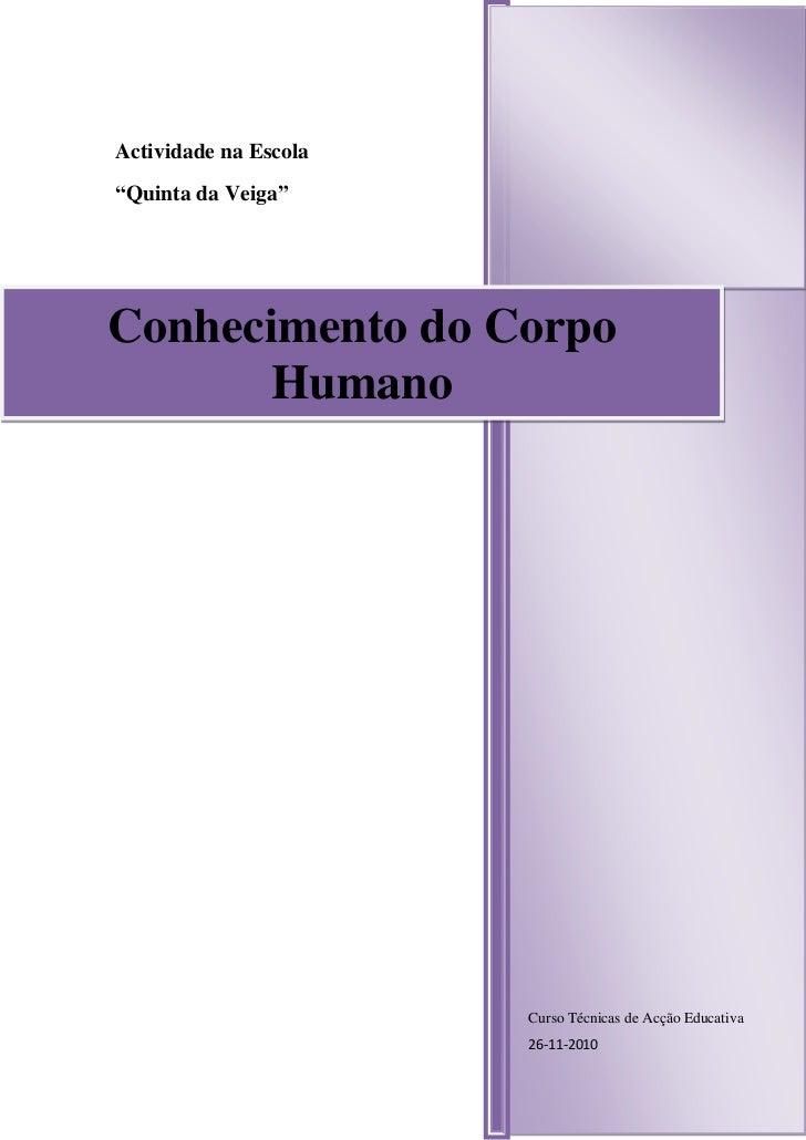 """Curso Técnicas de Acção Educativa26-11-2010Actividade na Escola""""Quinta da Veiga""""50349158625840Conhecimento do Corpo Humano..."""