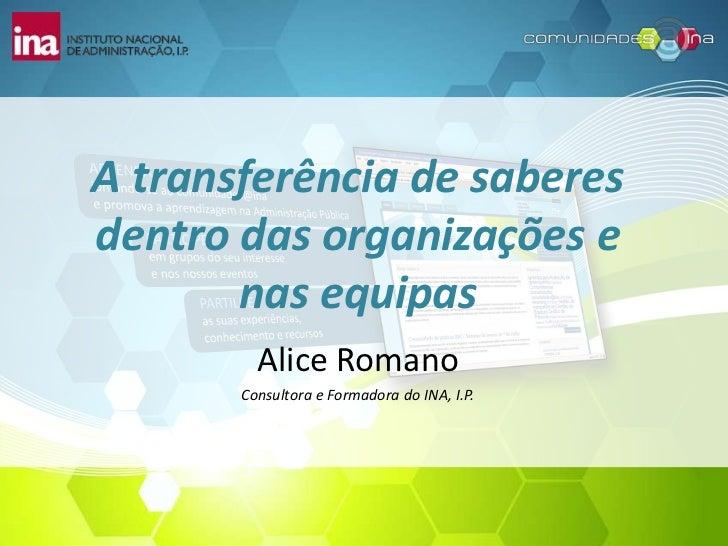 A transferência de saberesdentro das organizações e       nas equipas         Alice Romano       Consultora e Formadora do...