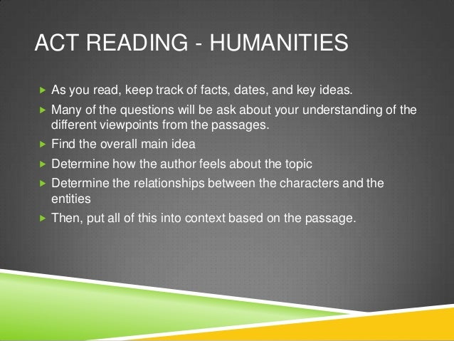 Act reading humanities Slide 3