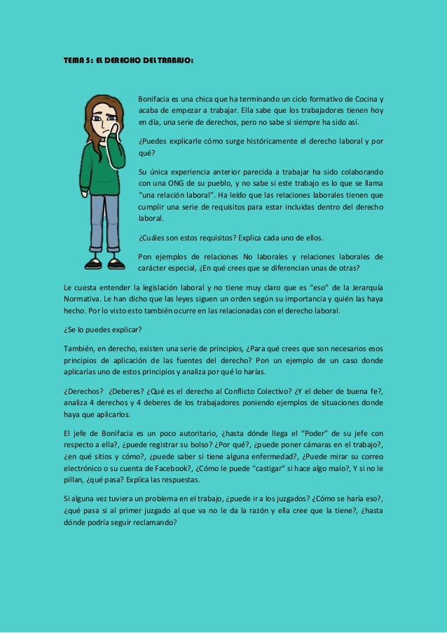 TEMA 5: EL DERECHO DEL TRABAJO: Bonifacia es una chica que ha terminando un ciclo formativo de Cocina y acaba de empezar a...