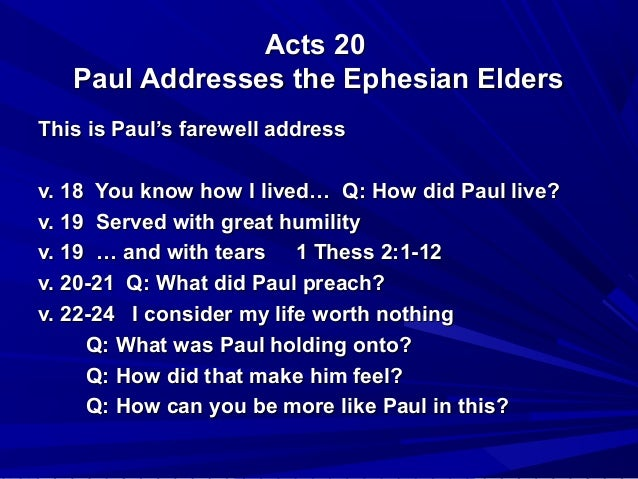 Sermon on Acts CH 20