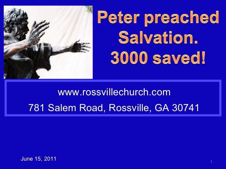 www.rossvillechurch.com 781 Salem Road, Rossville, GA 30741 June 15, 2011