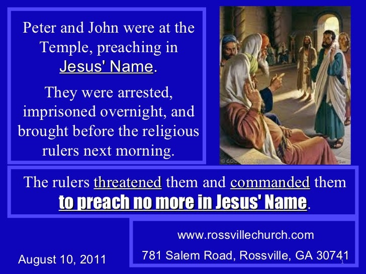 Peter and John were at the Temple, preaching in  Jesus' Name . They were arrested, imprisoned overnight, and brought befor...