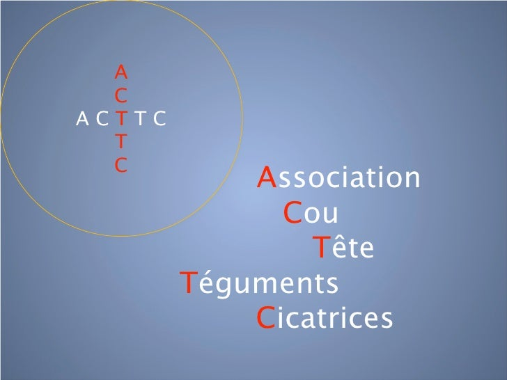 A   C ACTTC   T   C             Association               Cou                 Tête         Téguments             Cicatrices