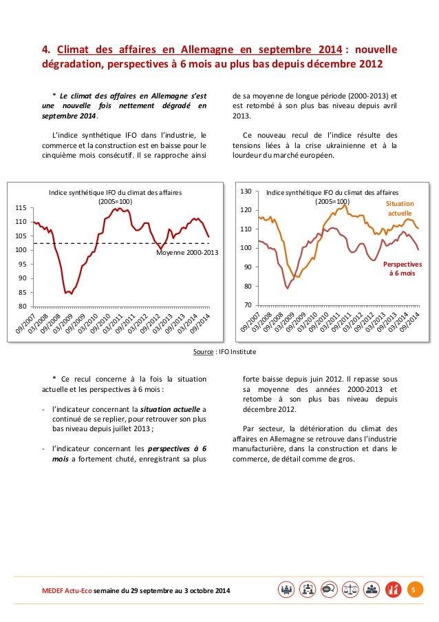 MEDEF Actu-Eco semaine du 29 septembre au 3 octobre 2014 5  4. Climat des affaires en Allemagne en septembre 2014 : nouvel...