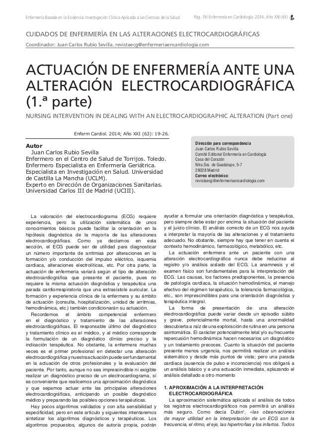 Pág. 19/ Enfermería en Cardiología. 2014; Año XXI (63)Enfermería Basada en la Evidencia: Investigación Clínica Aplicada a ...