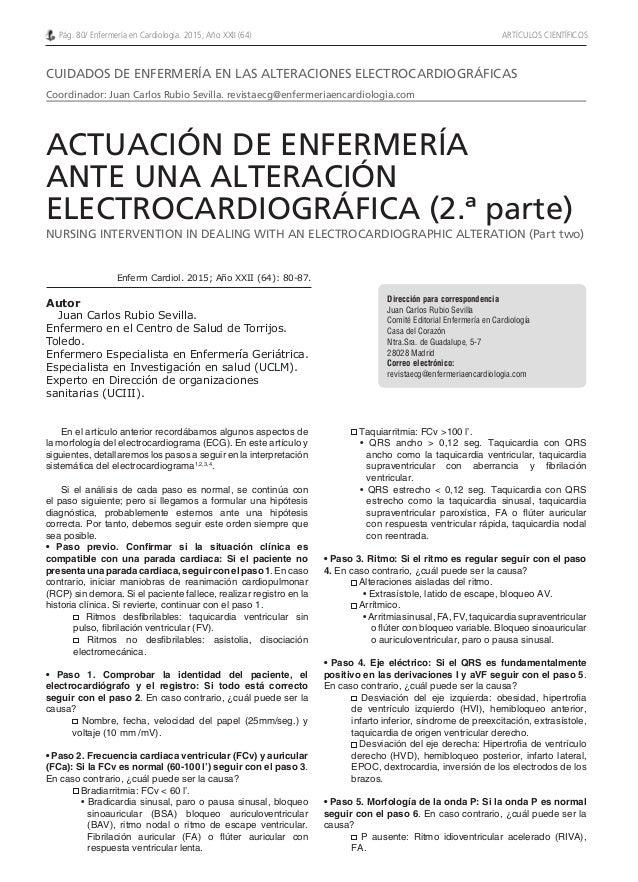 Dirección para correspondencia Juan Carlos Rubio Sevilla Comité Editorial Enfermería en Cardiología Casa del Corazón Ntra....