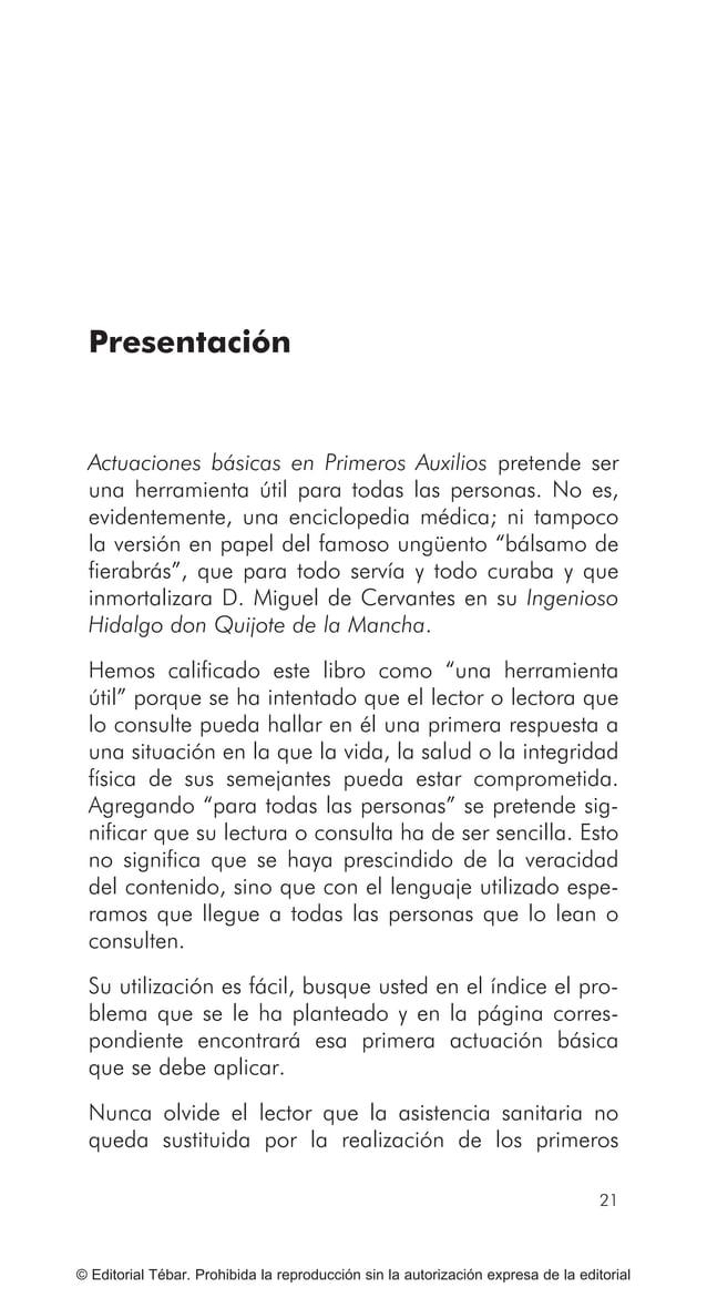 ACTUACIONES BÁSICAS EN PRIMEROS AUXILIOS 28 © Editorial Tébar. Prohibida la reproducción sin la autorización expresa de la...