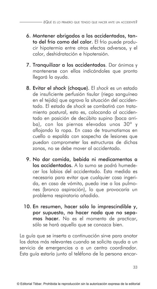 41 RECONOCIMIENTO DE LOS SIGNOS VITALES... © Editorial Tébar. Prohibida la reproducción sin la autorización expresa de la ...