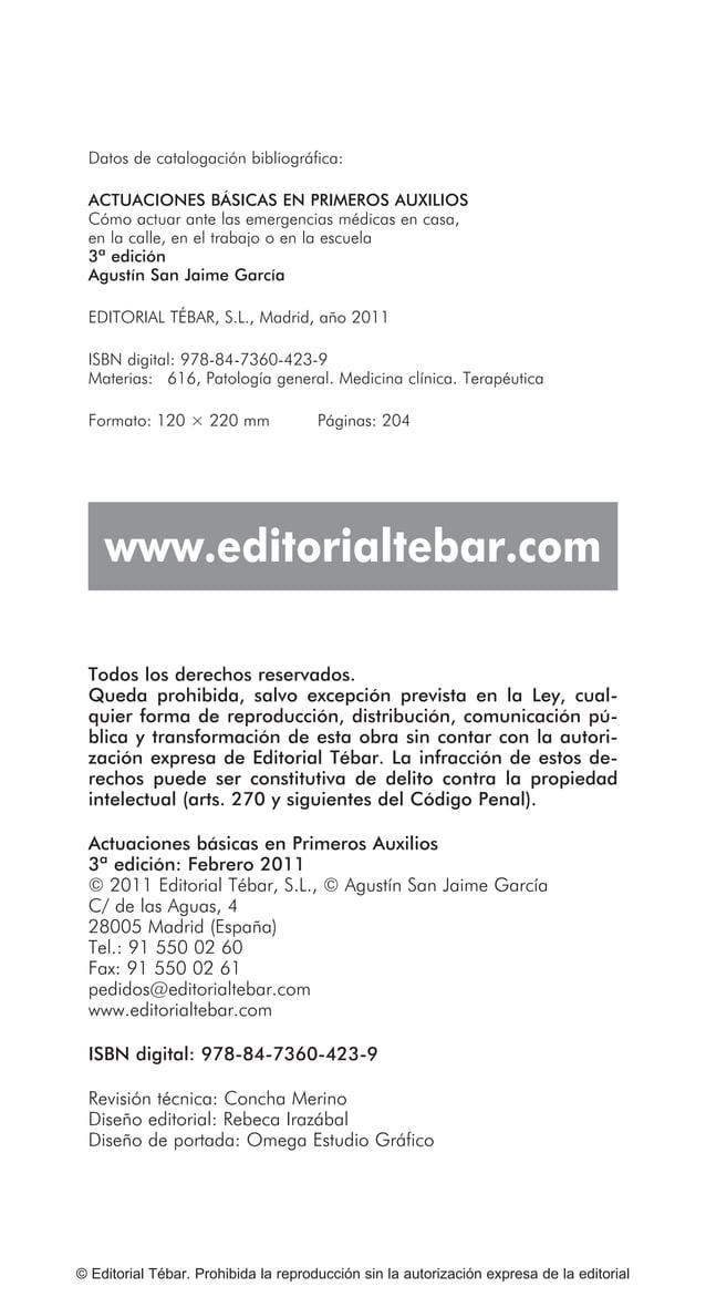 © Editorial Tébar. Prohibida la reproducción sin la autorización expresa de la editorial Tema 13: Actuaciones básicas ante...