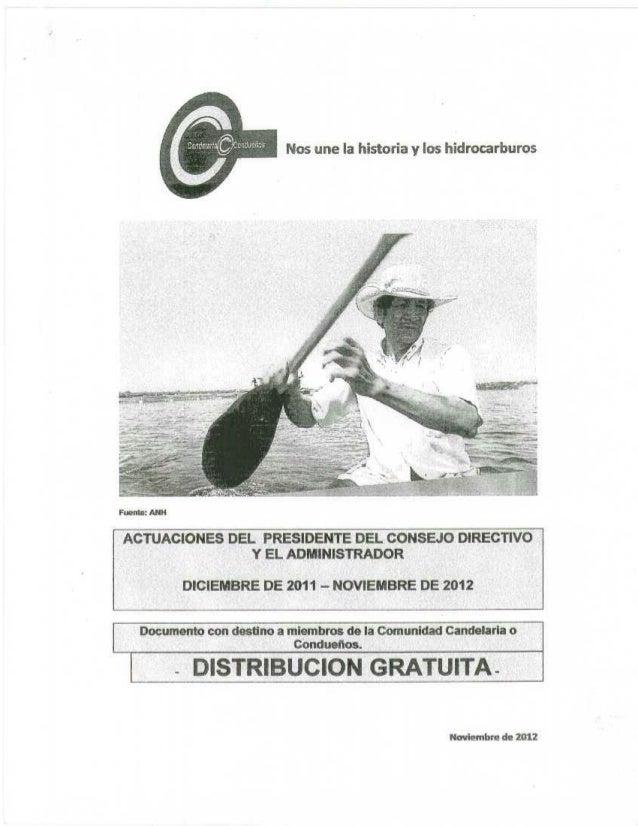 COMUNIDAD CANDELARIA O CONDUEÑOS. INFORME:  IV ASAMBLEA DE DELEGADOS COMUNEROS AÑO 2012