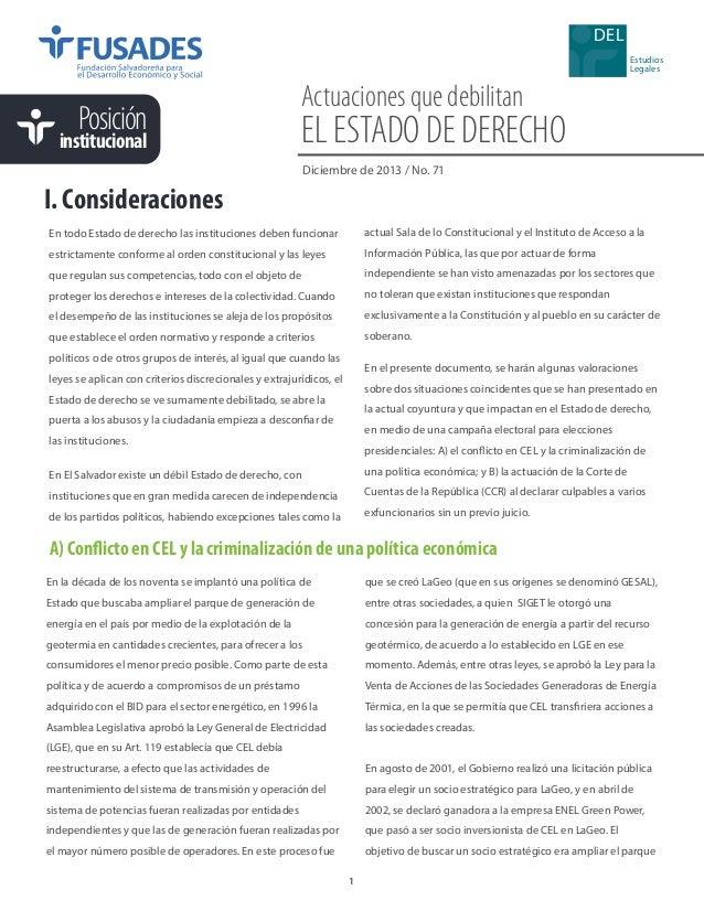 DEL Estudios Legales  Posición  institucional  Actuaciones que debilitan  EL ESTADO DE DERECHO Diciembre de 2013 / No. 71 ...