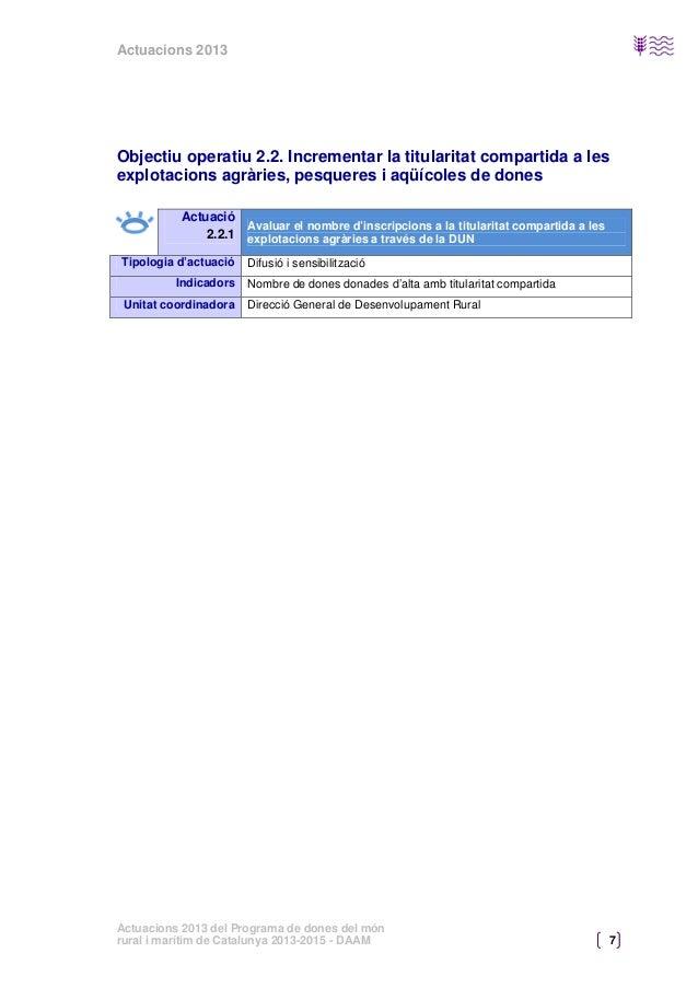 Actuacions 2013  Objectiu operatiu 2.3. Visibilitzar les dones de l'entorn rural i marítim en el llenguatge i les imatges ...