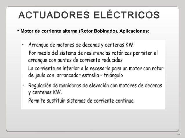 13 ACTUADORES ELÉCTRICOS  Motor de corriente alterna (Rotor Bobinado). Aplicaciones: