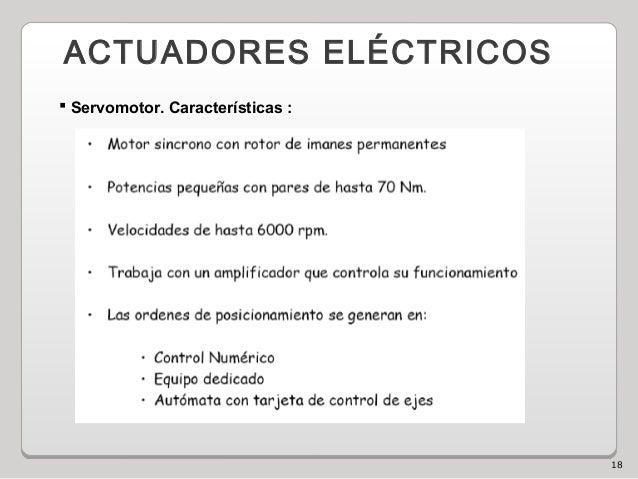 18 ACTUADORES ELÉCTRICOS  Servomotor. Características :