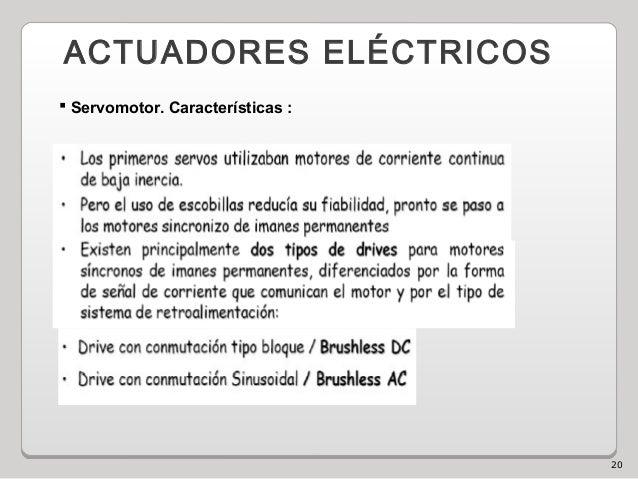 20 ACTUADORES ELÉCTRICOS  Servomotor. Características :