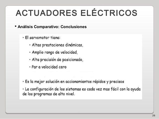 26 ACTUADORES ELÉCTRICOS  Análisis Comparativo: Conclusiones