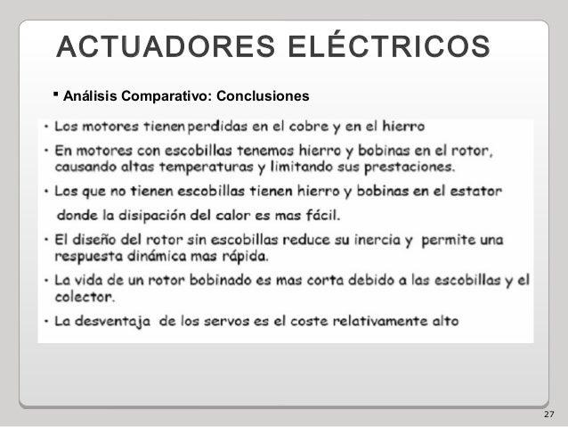 27 ACTUADORES ELÉCTRICOS  Análisis Comparativo: Conclusiones