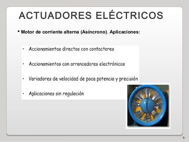 9 ACTUADORES ELÉCTRICOS  Motor de corriente alterna (Asíncrono). Aplicaciones: