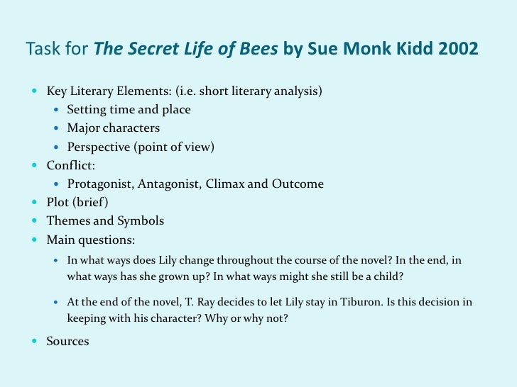 an analysis of the book review of the secret life of bees a novel by sue monk kidd The secret life of bees: a novel by sue monk kidd lily owens is a 14-year-old girl who lives with her abusive and neglectful father and her nanny, rosaleen lily owens is a 14-year-old girl who lives with her abusive and neglectful father and her nanny, rosaleen.