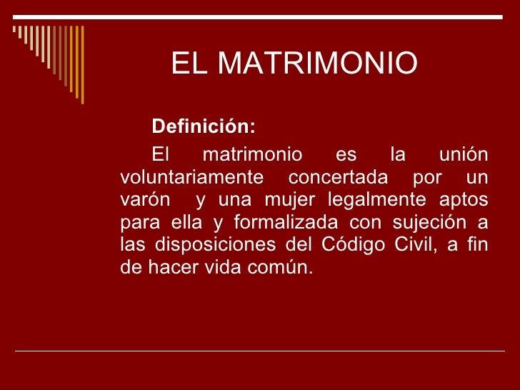 Matrimonio Definicion : Actual familia y matrimonio