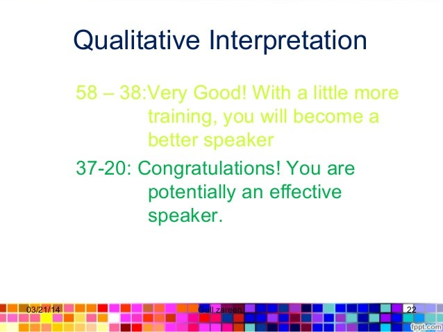 Qualitative Interpretation 58 – 38:Very Good! With a little more training, you will become a better speaker 37-20: Congrat...