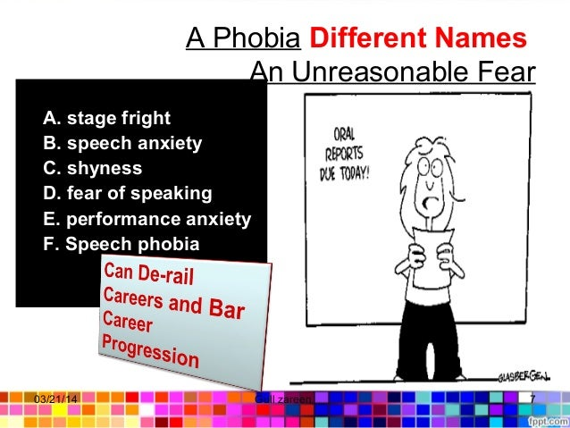 A Phobia Different Names An Unreasonable Fear A. stage fright B. speech anxiety C. shyness D. fear of speaking E. performa...