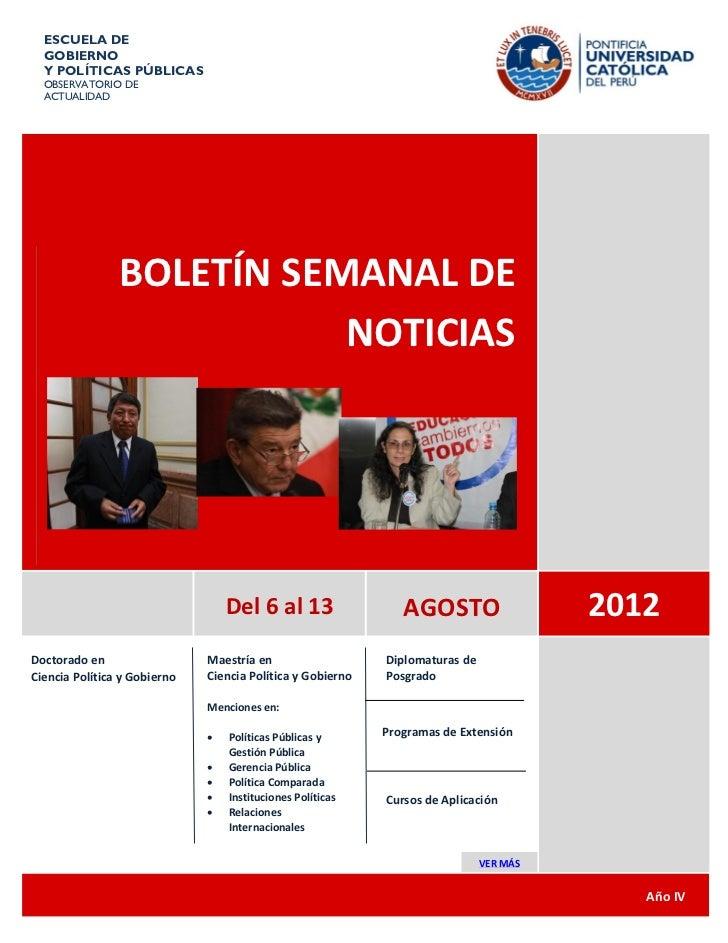 ESCUELA DE  GOBIERNO  Y POLÍTICAS PÚBLICAS  OBSERVATORIO DE  ACTUALIDAD                BOLETÍN SEMANAL DE                 ...
