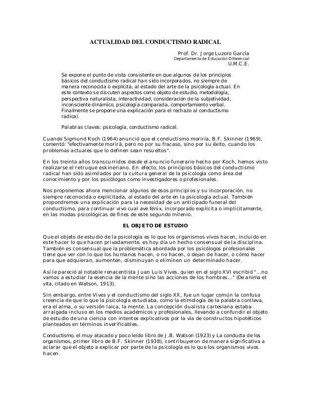 ACTUALIDAD DEL CONDUCTISMO RADICAL                                                         Prof. Dr. Jorge Luzoro García  ...