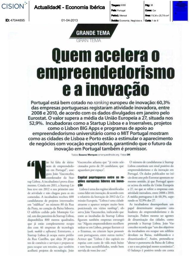 Tiragem: 6000                   Pág: 38               Actualidad€ - Economia Ibérica   País: Portugal                  Cor...