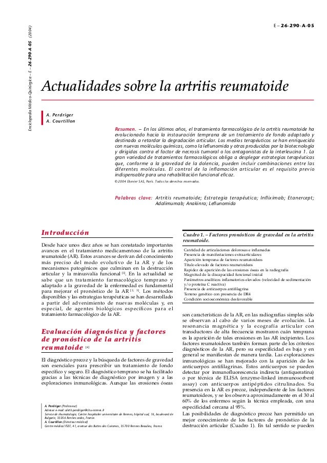 Enciclopedia Médico-Quirúrgica – E – 26-290-A-05 (2004)  E – 26-290-A-05  Actualidades sobre la artritis reumatoide A. Per...