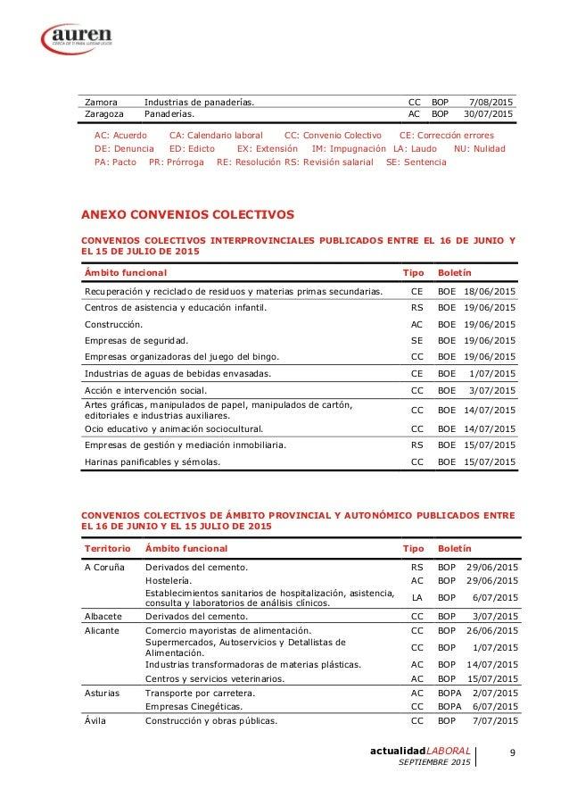 Auren actualidad laboral septiembre 2015 for Convenio colectivo de oficinas y despachos valencia