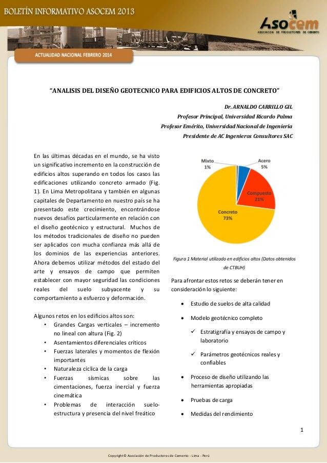 """ANALISIS DEL DISEÑO GEOTECNICO PARA EDIFICIOS ALTOS DE CONCRETO"" Dr. ARNALDO CARRILLO GIL Profesor Principal, Universidad..."