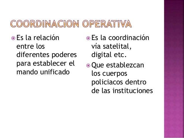  Es la relación entre los diferentes poderes para establecer el mando unificado  Es la coordinación vía satelital, digit...