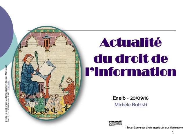 1 Actualité du droit de l'information Enssib - 20/09/16 Michèle Battisti Sous réserve des droits appliqués aux illustratio...