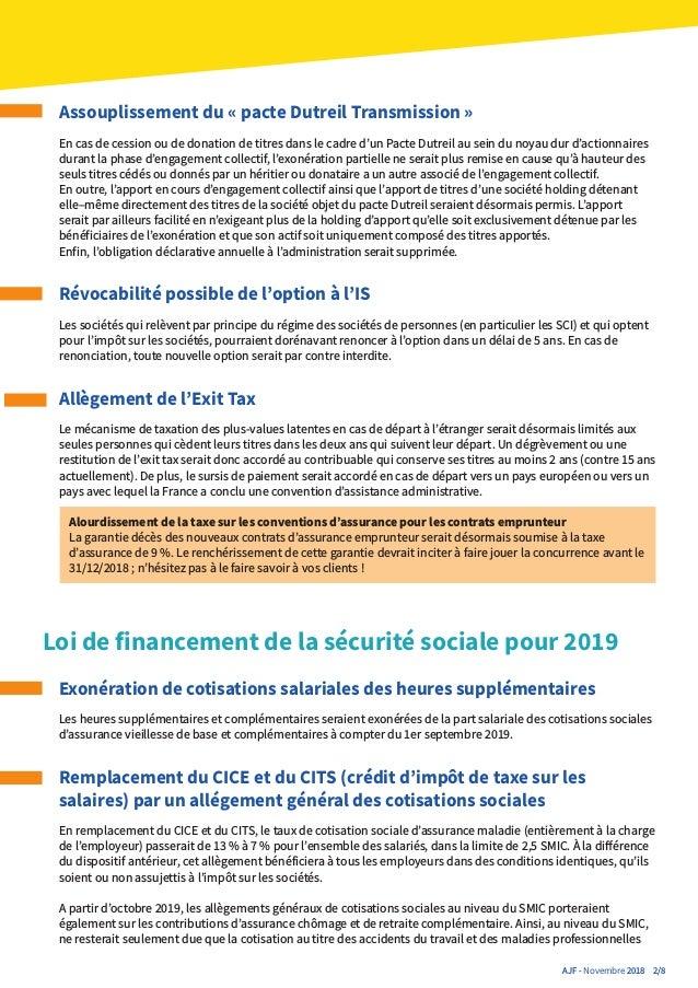 Actualite Juridique Fiscale Aviva Novembre 2018