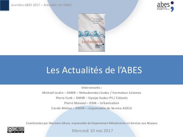 Les Actualités de l'ABES Intervenants : Michaël Jeulin – DMSR – Métadonnées Sudoc / Formateur Calames Pierre Funk – DMSR –...