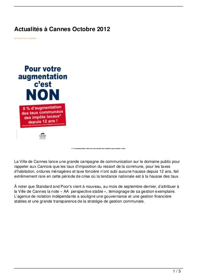 Actualités à Cannes Octobre 2012ACTUALITES A CANNES :                                0 % d'augmentation des taux communaux...