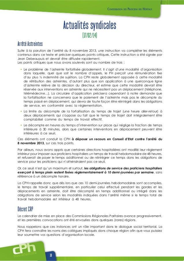 www.cphwehweb.info 10 Actualités syndicales (17/02/14) Arrêté Astreintes Suite à la parution de l'arrêté du 8 novembre 201...