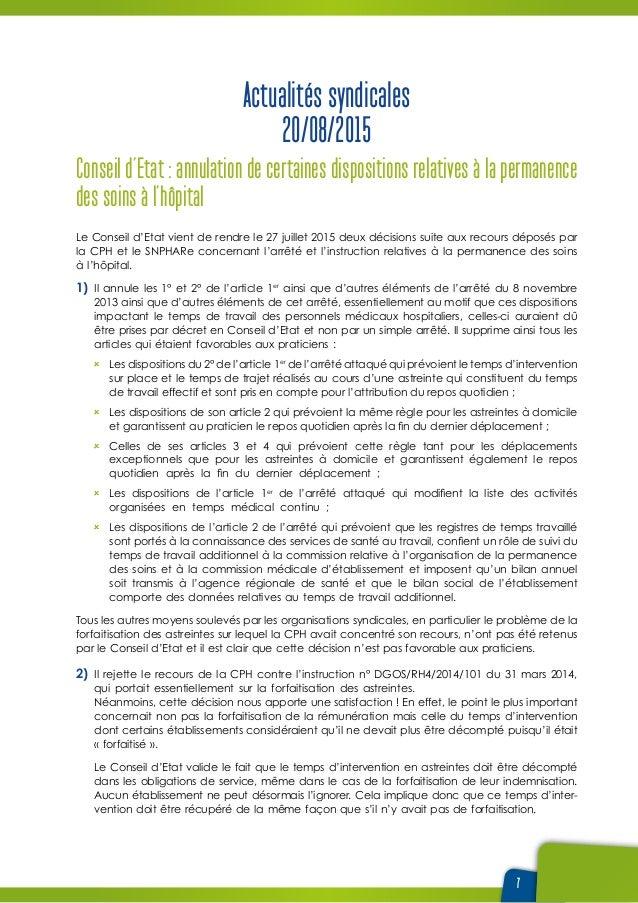 7 Actualités syndicales 20/08/2015 Conseil d'Etat : annulation de certaines dispositions relatives à la permanence des soi...