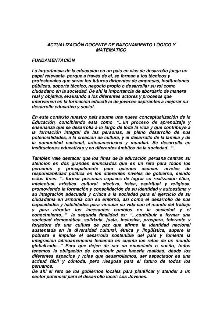 ACTUALIZACIÓN DOCENTE DE RAZONAMIENTO LÓGICO Y                        MATEMATICOFUNDAMENTACIÓNLa importancia de la educaci...