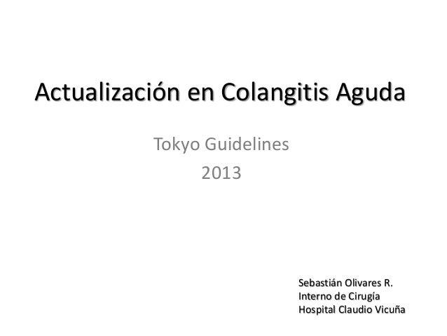 Actualización en Colangitis Aguda Tokyo Guidelines 2013 Sebastián Olivares R. Interno de Cirugía Hospital Claudio Vicuña