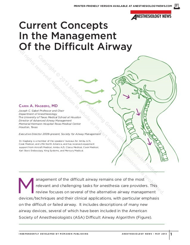 PRINTER-FRIENDLY VERSION AVAILABLE AT ANESTHESIOLOGYNEWS.COM1INDEPENDENTLY DEVELOPED BY MCMAHON PUBLIS HING ANE ST HE S IO...