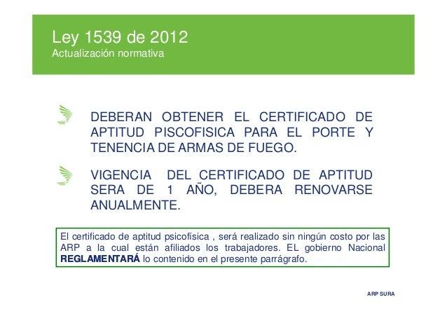 Actualizacion normativa en riesgos 2012 for Porte y tenencia de armas