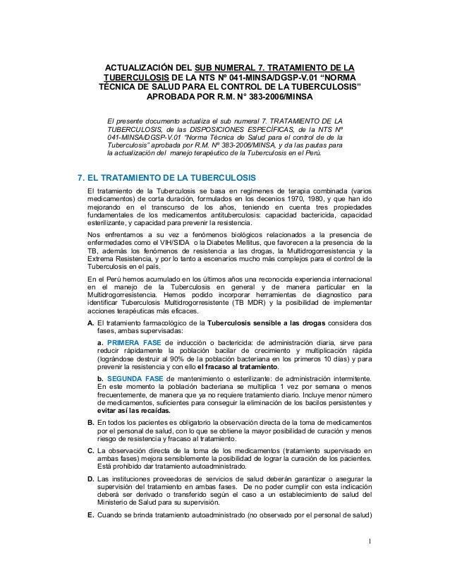 """ACTUALIZACIÓN DEL SUB NUMERAL 7. TRATAMIENTO DE LA     TUBERCULOSIS DE LA NTS Nº 041-MINSA/DGSP-V.01 """"NORMA    TÉCNICA DE ..."""