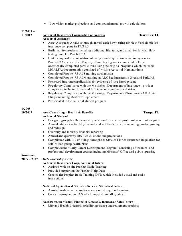 actuary resume financial risks career history - Actuary Resume