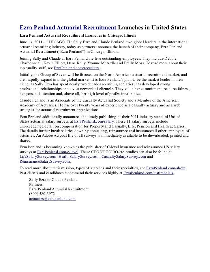 Ezra Penland Actuarial Recruitment Launches in United StatesEzra Penland Actuarial Recruitment Launches in Chicago, Illino...